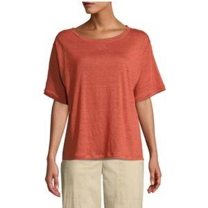 Eileen Fisher Orange  Linen Jersey T Shirt